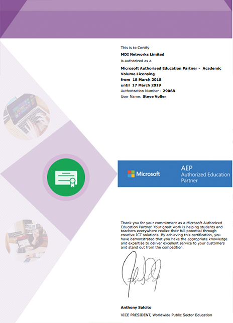 Microsoft Licensing - MDI Networks Limited